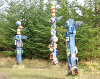 Totem poles in Dunnet Forest